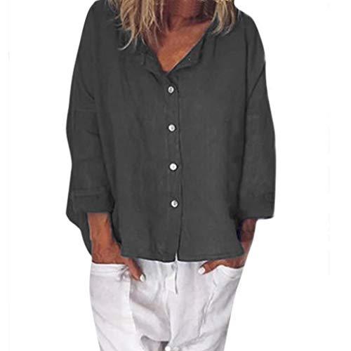 POQOQ Blouse Women Summer Long Sleeve Cotton Linen