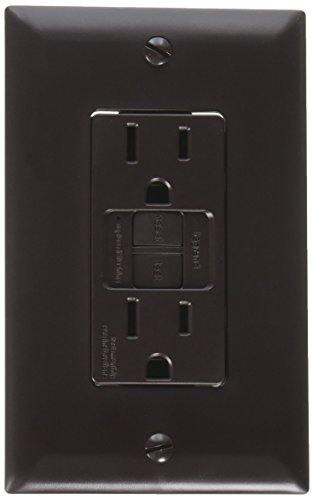 RV Designer S805, Dual GFCI Outlet with Cover Plate, Brown