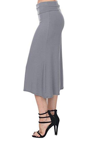 Nolabel B7_012 Womens Kint Comfy Chic Wide Leg Palazzo Gaucho Capri Culottes Pants Fold Over Waistband [Gray/S]