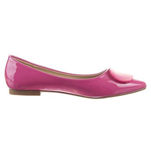 Sopily - Scarpe da Moda ballerina alla caviglia donna lucide Tacco a blocco 1 CM - Blu
