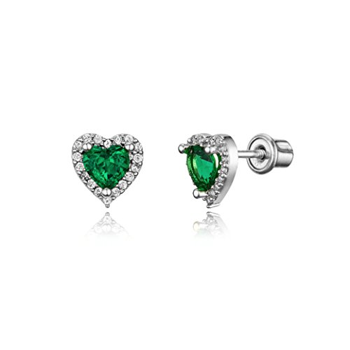 925 Sterling Silver Rhodium Plated Green Heart Cubic Zirconia Screwback Baby Girls Earrings - Green Silver Plated Ring