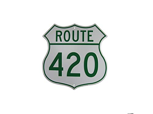 TG,LLC US Highway Route 420 Embossed Metal Sign Funny Weed Humor Wall Decor