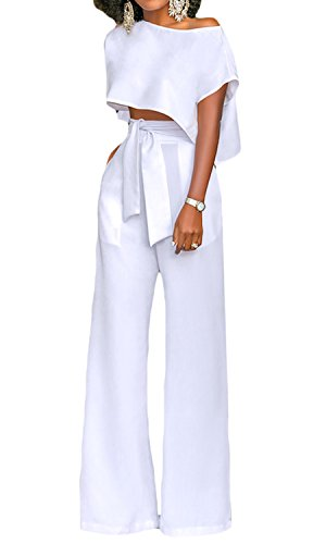 White Jumpsuit Women's (Amzbeauty White Jumpsuit for Women Long Straight Wide Leg Pants Flowy Top-XL)