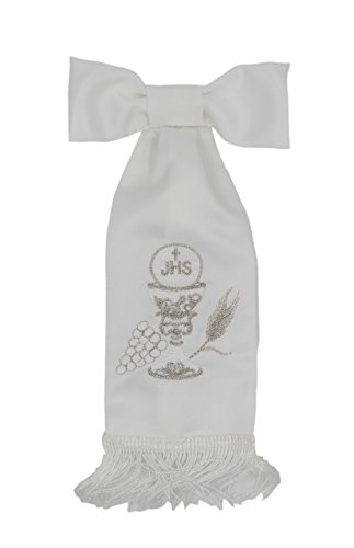 First Communion White Boy Armband with Embroidered Accents Chalice