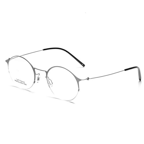 (SO SMOOTH WIND B-Titanium Eyeglasses Frame Round Shape Glasses Frame Prescription Eyewear Frame R1102 (Silver, Demo clear lens))