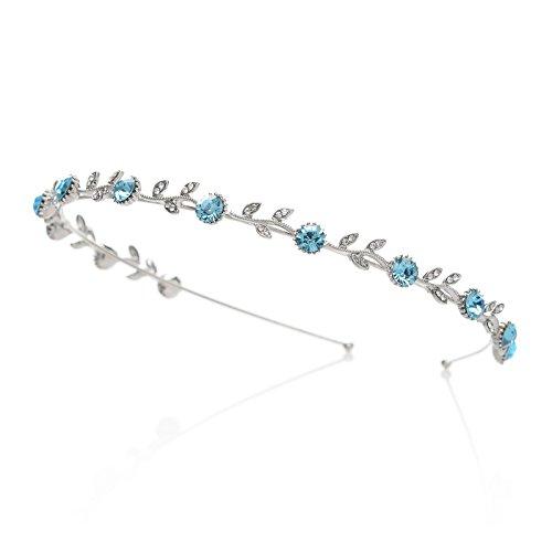 SWEETV Crystal Hair Band Rhinestone Headband Tiara Bridal Headpiece Wedding Hair Accessories for Women, Single Band Blue