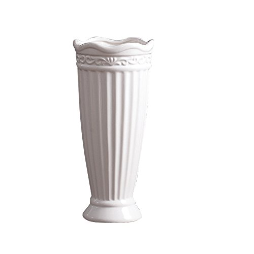 Jomop Modern White Ceramic Bottle Vases (10 in, White)