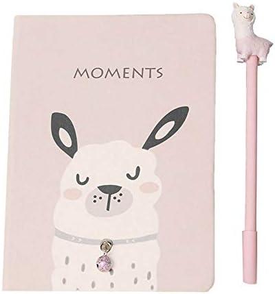 MSYOU Hardcover Notizbuch Gelstift-Set, einfaches und süßes Alpaka-Muster, Tagebuch zum Füllen von Notizblöcken, hochwertiges dickes Papier, für Schule, Büro 33 * 7cm rose