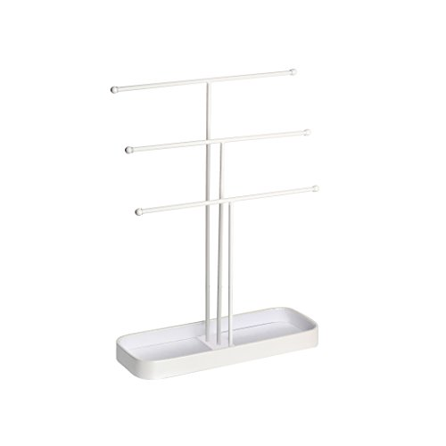 JackCubeDesign Metal 3 Tier Jewelry Display Stand Tree Organizer Bracelet Necklace Holder Rack Hanger Tower with Earring Ring Tray Storage Tabletop(White, 12.1 x 4.1 x 16.1 inches) – :MK320F by JackCubeDesign (Image #5)