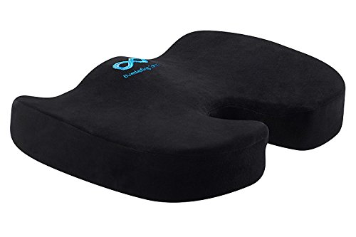 Everlasting Comfort 100% Pure Memory Foam Luxury Seat Cushion, Orthopedic Design To Relieve Back, Sciatica and Tailbone Pain