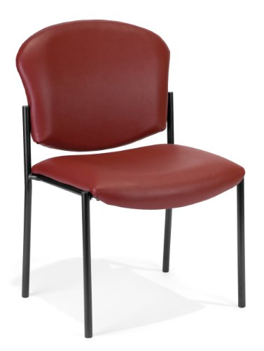 Wine Vinyl Armless Reception Chair - OFM 408-VAM-603 Armless Stack Vinyl Chair, Wine