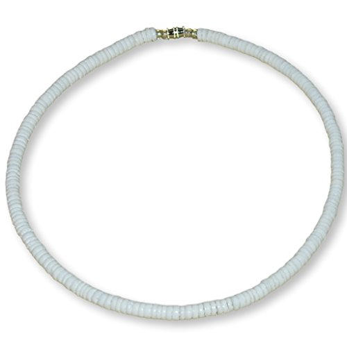 Shell Necklace Puka Choker (Native Treasure 15 inch Little Kids White Clam Heishe Puka Shell Necklace Surfer Necklace from The Philippines - 5mm (3/16