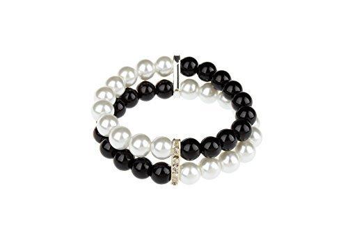 [TS Simple Double Black and White Pearl Bracelet (Bracelet)] (Indian Beaded Bracelet)