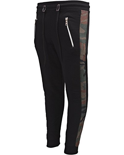 School Tracksuit - Galaxy by Harvic Boys Active Fleece Jogger Pant with Panel Detail, Black w/Camo, X-Large/18-20'