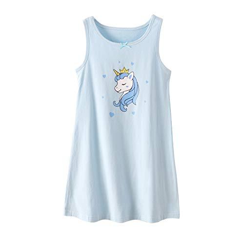 Nightgowns for Girls Unicorn Sleep Shirt Cotton Nightie Blue 7-8