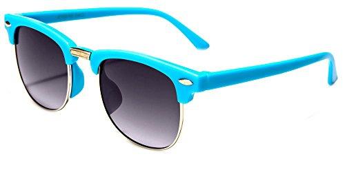 Hillcrusher Girls AGES 3 -9 Gafas De Sol Wayfarers Kids Sunglasses (Blue, Gray)