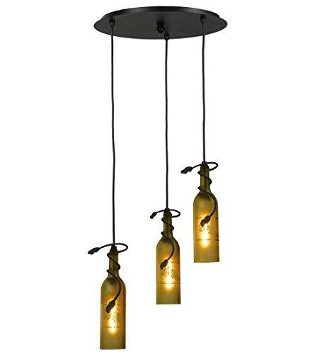 Meyda Tiffany 105771 Tuscan Vineyard Etched Grapes 3 Light Wine Bottle Cascading Pendant Light Fixture, 16