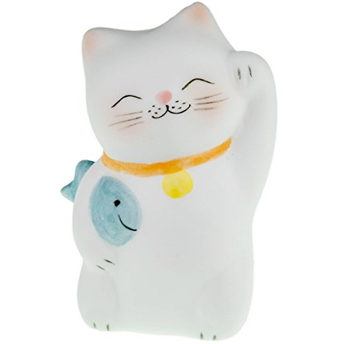 Lucky Cat Neko Fortune Handmade Painted Ceramic Japanese Chinese by Tada-Tada (1 Pcs, Blue Color) (Glass Cat Candy Dish)
