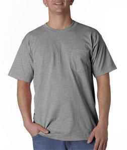 Bayside Men's Classic Style Heavyweight Pocket T-Shirt, Dark Ash, XL ()