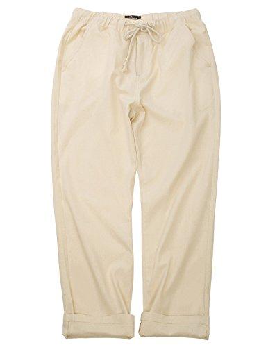 Cotton Linen Pants - PAUL JONES Relaxing Light Weight Pants Khaki Cotton Trousers