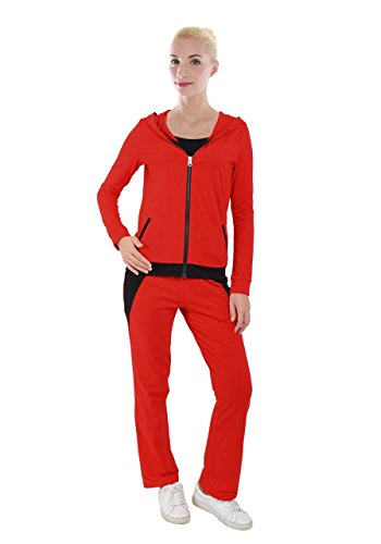 PattyCandy Womens Red Full Zip Hoodie With Sweat Pants Tracksuit, Red - 4XL
