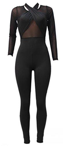Alaroo Women Patchwork Black Bodysuit Catsuit Jumpsuit For Cocktail Party