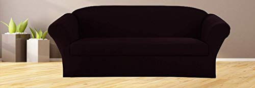 Superior Home 3-Piece SlipCover Set for Sofa Loveseat Couch & Arm Chair, Form fit Stretch & Wrinkle Free, Furniture Protector Cover Set for 3/2/1 Cushion, Polyester Spandex, 3pc Slipcover, Black