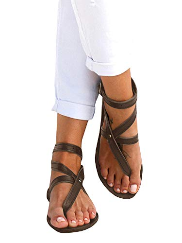 Shele Womens Thong Gladiator Strappy Flats Sandals Buckle Criss Cross Ankle Strap Shoes
