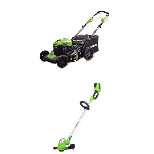 Greenworks 21-Inch 40V Self-Propelled Cordless Lawn Mower with 13-Inch 40V Cordless String trimmer/Edger Battery Not Included 21332 21' Self Propelled Mower