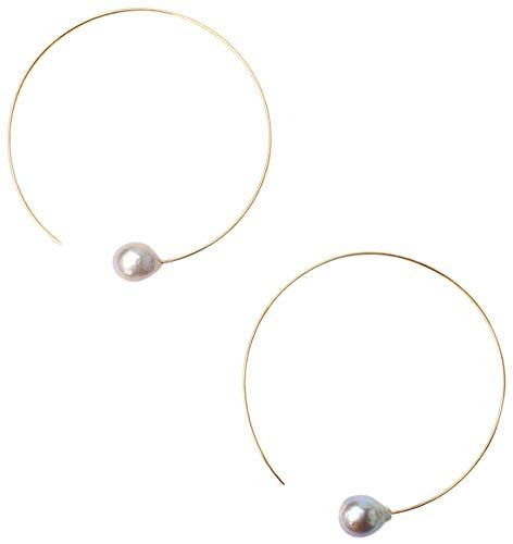 Chan Luu Women's Freshwater Pearl Hoop Earrings Grey One ()