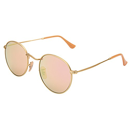 LianSan Classic Metal Frame Round Circle Mirrored Sunglasses Men Women Glasses - Round Mirrored Sunglasses