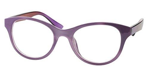 SOOLALA Lovely Hit Color Oversized Clear Lens Eye Glasses Frame Wide Reading Glasses, Purple, 2.0D