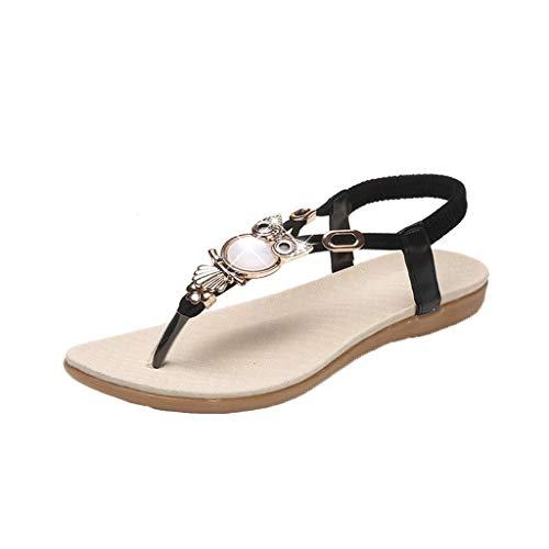 Alpine Trekking Pole - YOcheerful Women Sandals Rhinestone Bohemian Sweet Sandals Clip Toe Sandals Beach Shoes Black