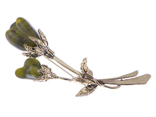 Alilang Swarovski Crystal Elements Antique Yellow Agate Tulip Flower Pin Brooch