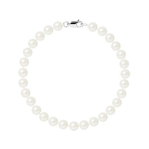 Pearls & Colors - Parure collier, bracelet et boucles d'oreille - Argent 925 - Perle de culture - AM-WEDDING-1R-AG6-WH