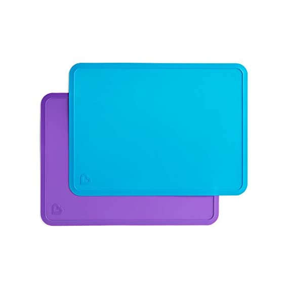 Munchkin Silicone Placemat, 2 Pack, Blue/Purple