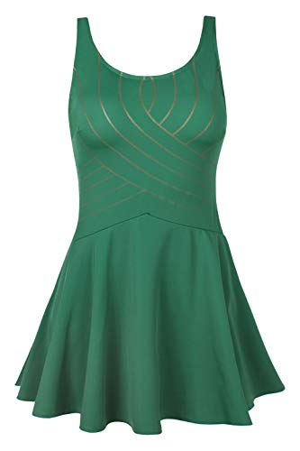 URqvick Women's One Piece Swimdress Solid Push Up Skirtini Cover Up Vintage Swimsuit (Green, US 8) ()