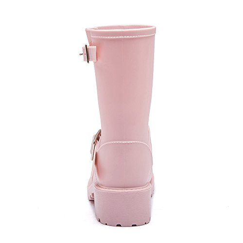 Shoes Fashion Solid Pink Rain Non and Slip Low Shoes Women's Color Cavave Heeled Rain Z7dpwpx
