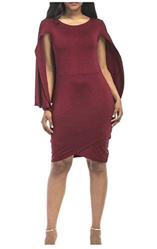Women's Sleeve Short Poncho Loose Dress Jaycargogo Irregular Bodycon Wine Red dIXOPw