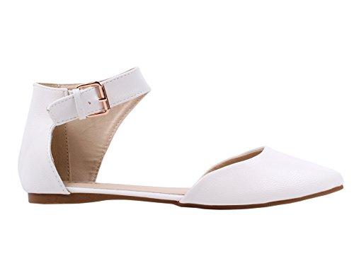 Scarpe da donna sandalo bianco con cinturino con fibbia
