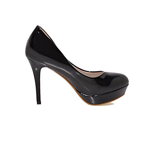 Women's Heels Pull Solid Black Shoes Pumps 35 Round Odomolor High On PU Toe aw4xW1dq