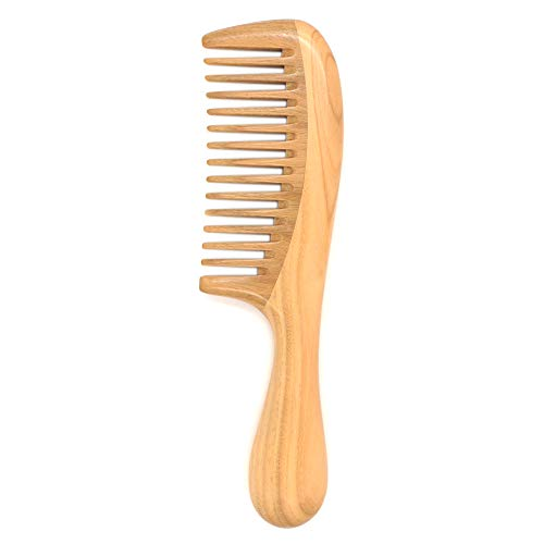 Tinfun Natural Green Sandalwood Hair Comb Wooden Comb (Wide Tooth) for Curly Hair Detangling - No Static