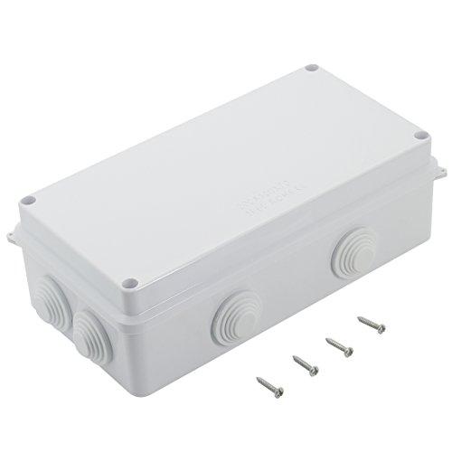 LeMotech ABS Plastic Dustproof Waterproof IP65 Junction Box Universal Electrical Project Enclosure White 7.9'' x 3.9'' x 2.8''(200mmx100mmx70mm) by LeMotech