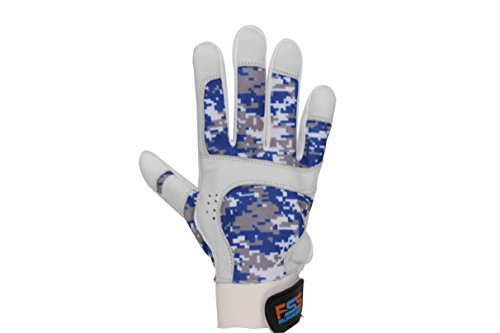 FullScope Sports Baseball Batting Gloves for Adult Boys Girls Youth Pro Softball Glove (Blue/Gray/White Digital Camo) Youth Small (Ages 6-8 yrs old) by FullScope Sports