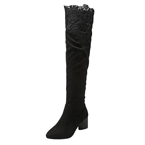 Mee Shoes Womens Sexy High-heel Knee-high Long Boots Black slcLf
