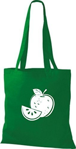 ShirtInStyle Bolso de tela Bolsa de algodón Tu Favorita frutas y hortalizas manzana - Fucsia, 38 cm x 42 cm kelly