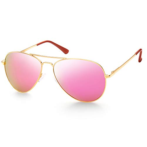 (Small Face Polarized Aviator Sunglasses for Women, Pink Mirrored Lens Eyewear with Hard Case Cleaning Cloth, 58mm)