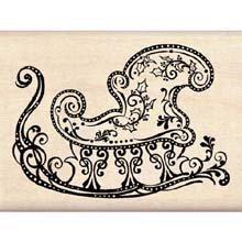 Wood Mounted Rubber Stamp DD: Elegant Sleigh