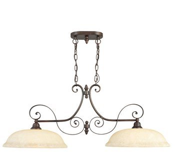 Livex Lighting 6152-58 Manchester 2 Light Imperial Bronze Island Fixture with Vintage Alabaster Glass Country Two Light Island