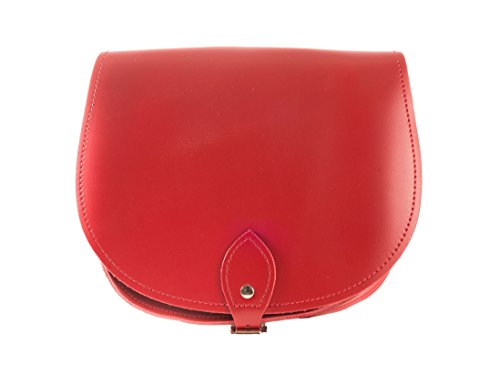Cross Body with Leather many Available Red Buckle Hand Handbag Made colours Closure Saddle in Crimson 451Yx5tn